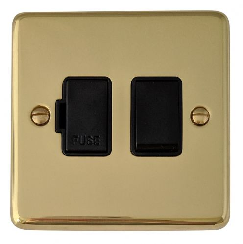 G&H CB57B Standard Plate Polished Brass 1 Gang Fused Spur 13A Switched
